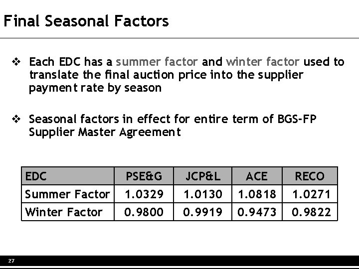 Final Seasonal Factors v Each EDC has a summer factor and winter factor used