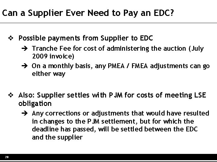 Can a Supplier Ever Need to Pay an EDC? v Possible payments from Supplier