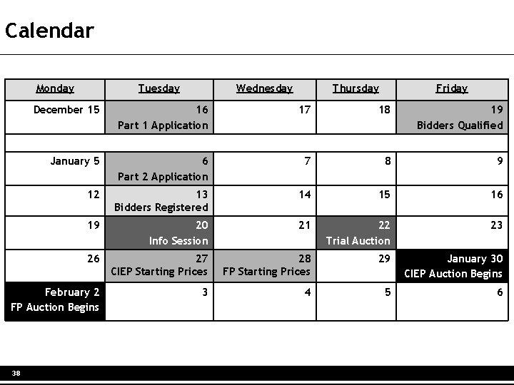 Calendar Monday Tuesday Wednesday Thursday Friday December 15 16 Part 1 Application 17 18