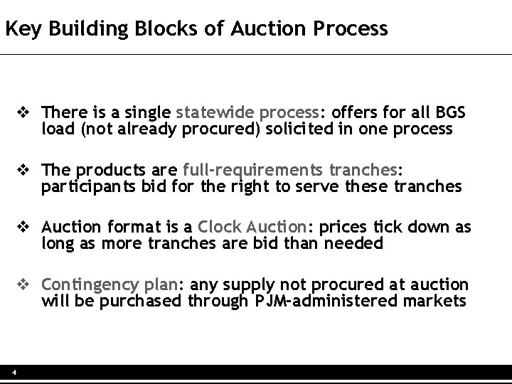 Key Building Blocks of Auction Process v There is a single statewide process: offers