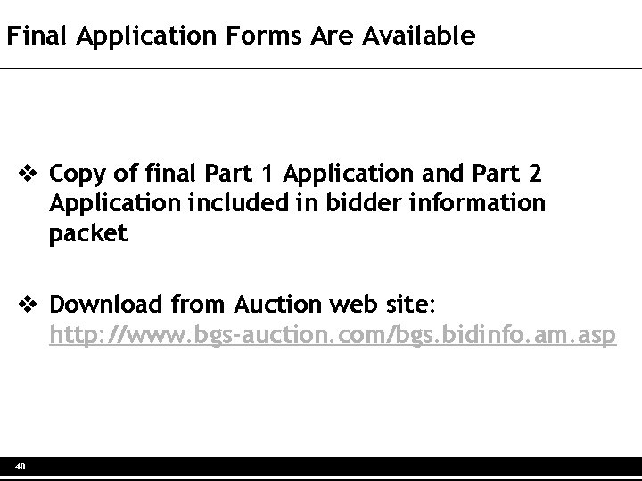 Final Application Forms Are Available v Copy of final Part 1 Application and Part