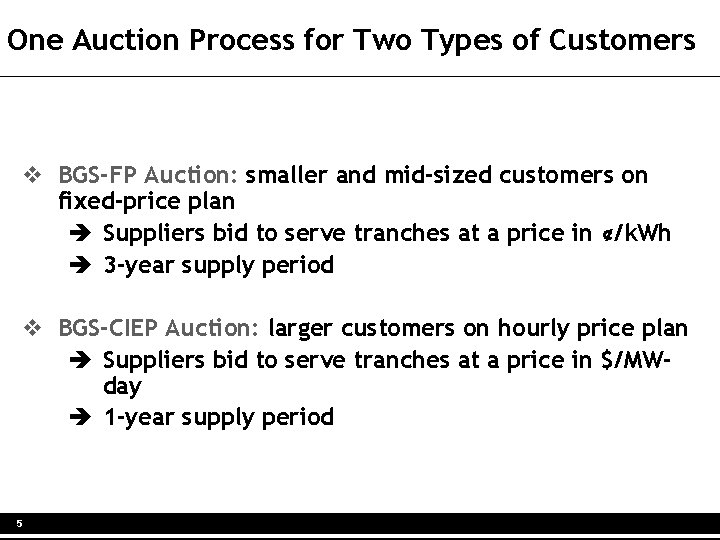 One Auction Process for Two Types of Customers v BGS-FP Auction: smaller and mid-sized