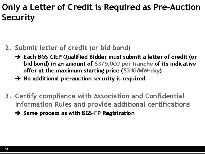 Only a Letter of Credit is Required as Pre-Auction Security 2. Submit letter of