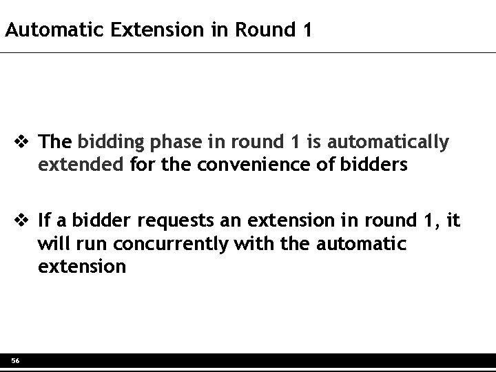 Automatic Extension in Round 1 v The bidding phase in round 1 is automatically
