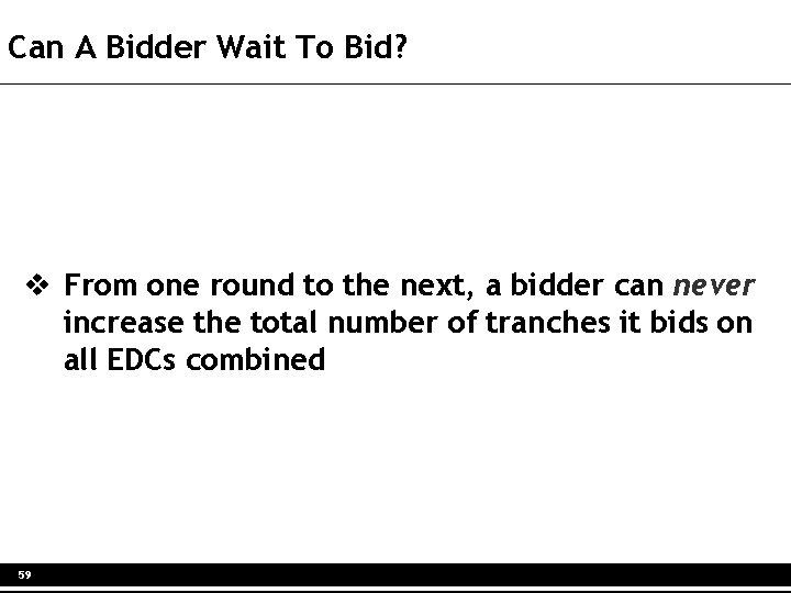 Can A Bidder Wait To Bid? v From one round to the next, a