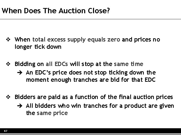 When Does The Auction Close? v When total excess supply equals zero and prices