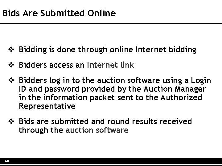 Bids Are Submitted Online v Bidding is done through online Internet bidding v Bidders