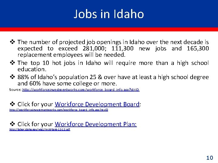 Jobs in Idaho v The number of projected job openings in Idaho over the