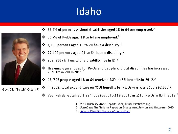 Idaho v 75. 2% of persons without disabilities aged 18 to 64 are employed.