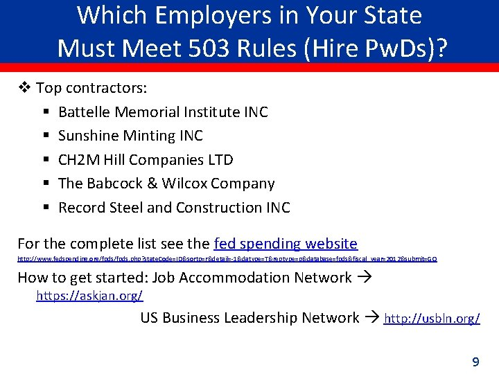 Which Employers in Your State Must Meet 503 Rules (Hire Pw. Ds)? v Top