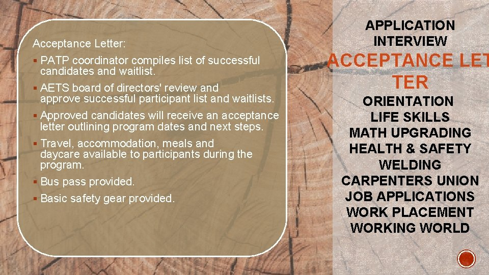 Acceptance Letter: § PATP coordinator compiles list of successful candidates and waitlist. § AETS