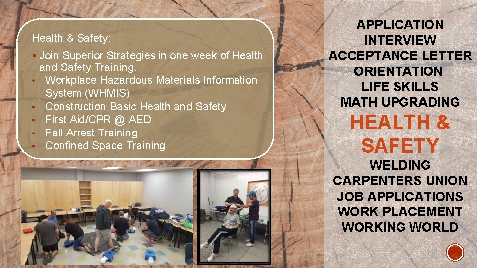 Health & Safety: § Join Superior Strategies in one week of Health • •