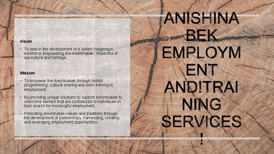 Vision § To lead in the development of a skilled Indigenous workforce empowering the
