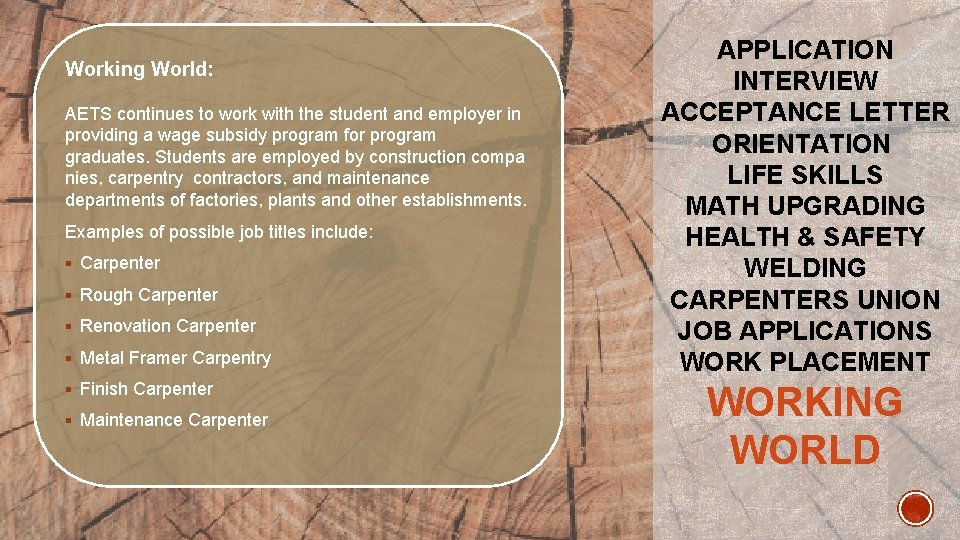Working World: AETS continues to work with the student and employer in providing a