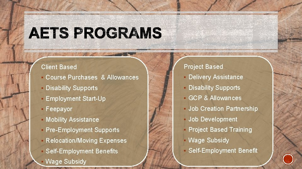 Client Based Project Based § Course Purchases & Allowances § Delivery Assistance § Disability