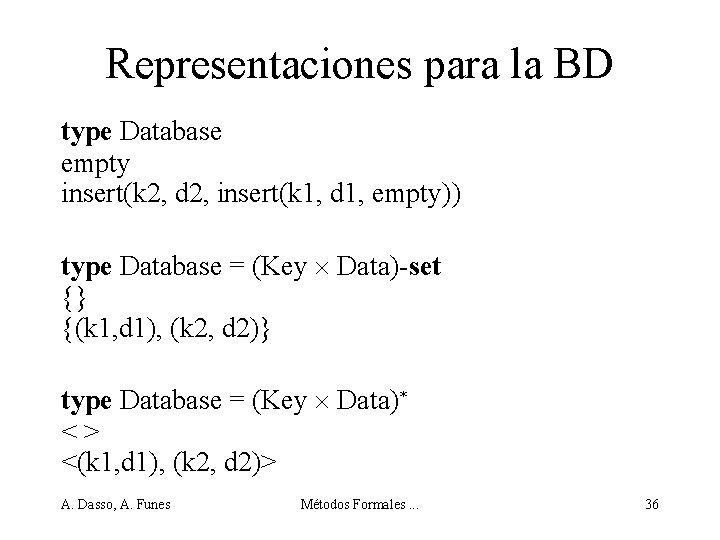 Representaciones para la BD type Database empty insert(k 2, d 2, insert(k 1, d