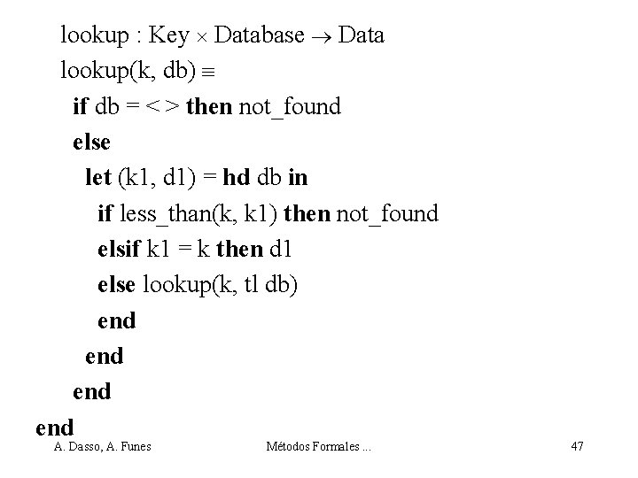 lookup : Key Database Data lookup(k, db) if db = < > then not_found