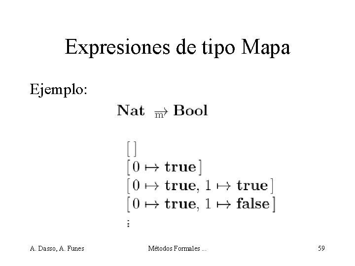 Expresiones de tipo Mapa Ejemplo: A. Dasso, A. Funes Métodos Formales. . . 59