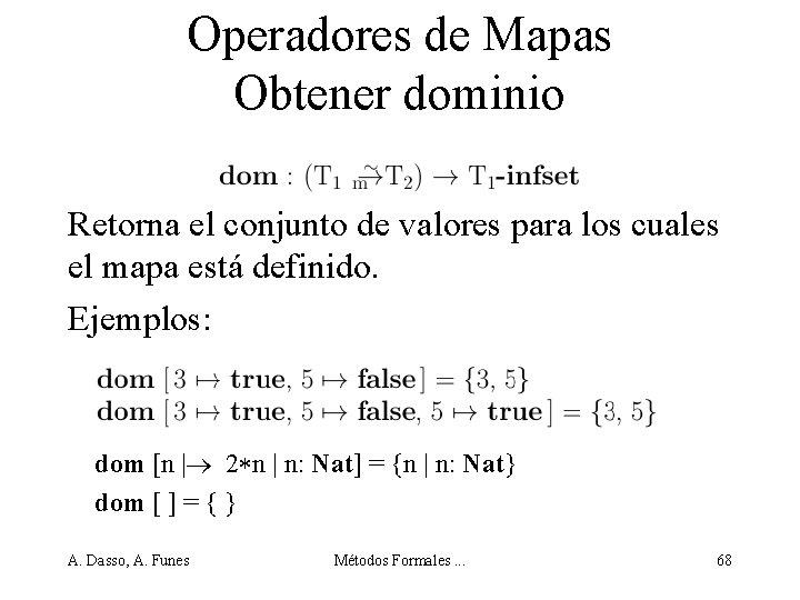 Operadores de Mapas Obtener dominio Retorna el conjunto de valores para los cuales el