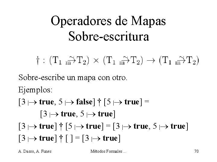 Operadores de Mapas Sobre-escritura Sobre-escribe un mapa con otro. Ejemplos: [3 | true, 5