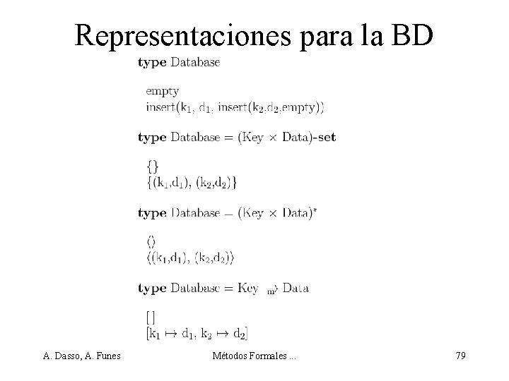 Representaciones para la BD A. Dasso, A. Funes Métodos Formales. . . 79