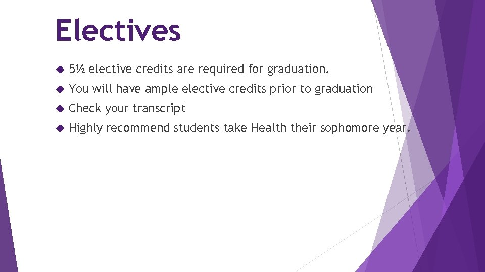 Electives 5½ elective credits are required for graduation. You will have ample elective credits