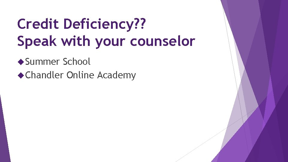 Credit Deficiency? ? Speak with your counselor Summer School Chandler Online Academy