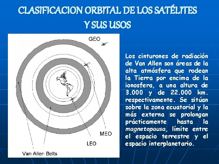 CLASIFICACION ORBITAL DE LOS SATÉLITES Y SUS USOS Los cinturones de radiación de Van