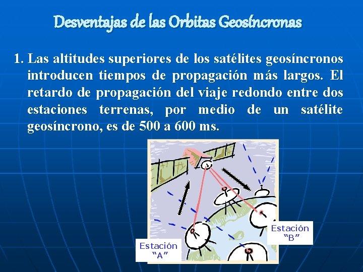 Desventajas de las Orbitas Geosíncronas 1. Las altitudes superiores de los satélites geosíncronos introducen