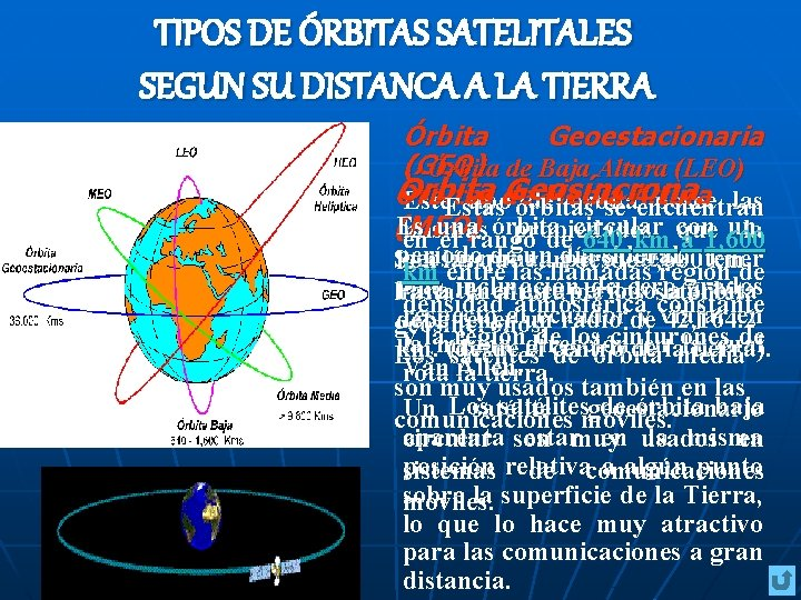 TIPOS DE ÓRBITAS SATELITALES SEGUN SU DISTANCA A LA TIERRA Órbita Geoestacionaria (GEO) Órbita