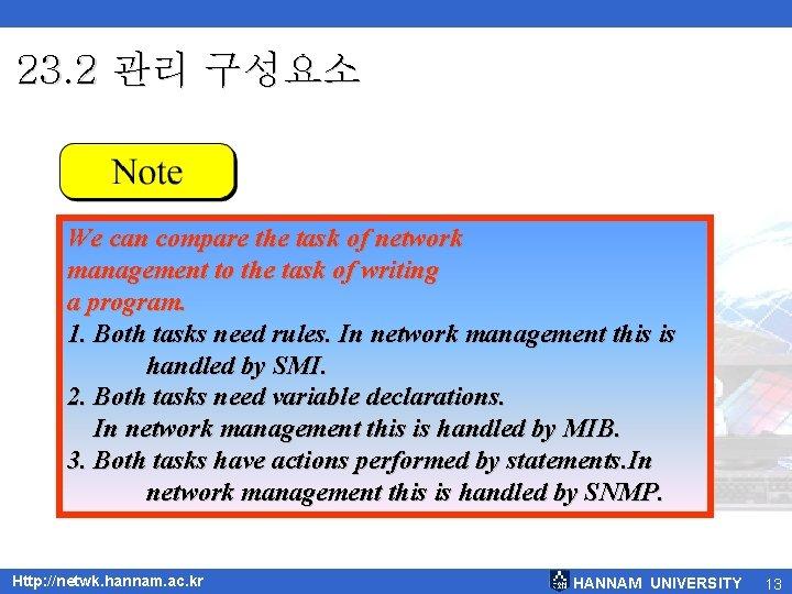 23. 2 관리 구성요소 We can compare the task of network management to the