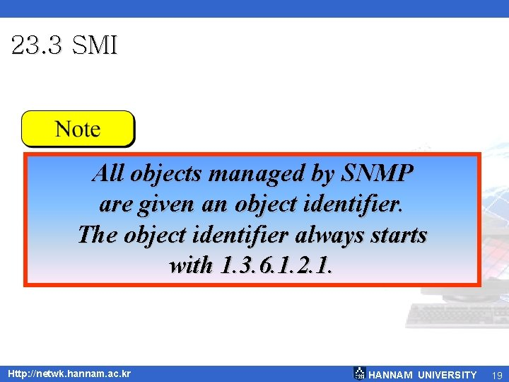 23. 3 SMI All objects managed by SNMP are given an object identifier. The
