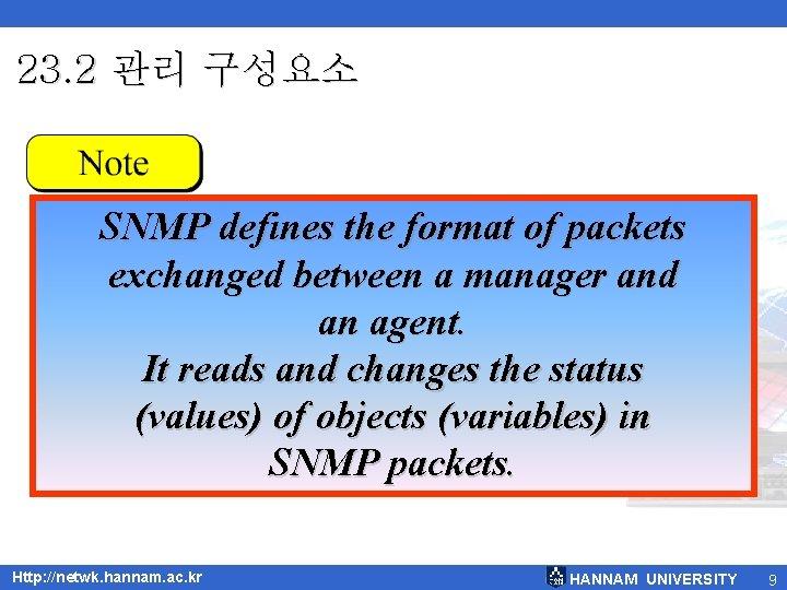 23. 2 관리 구성요소 SNMP defines the format of packets exchanged between a manager