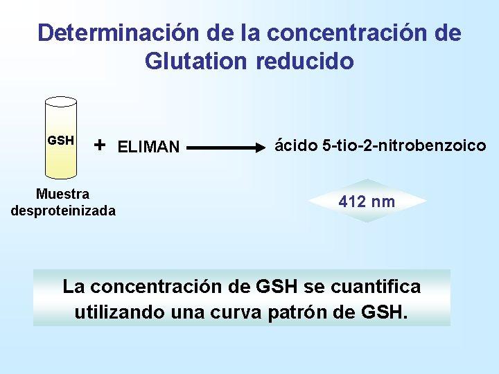 Determinación de la concentración de Glutation reducido GSH + Muestra desproteinizada ELIMAN ácido 5