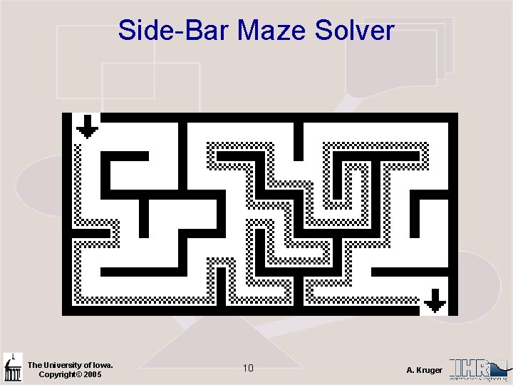 Side-Bar Maze Solver The University of Iowa. Copyright© 2005 10 A. Kruger