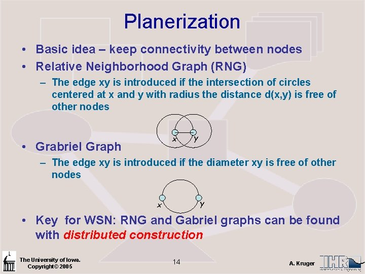 Planerization • Basic idea – keep connectivity between nodes • Relative Neighborhood Graph (RNG)