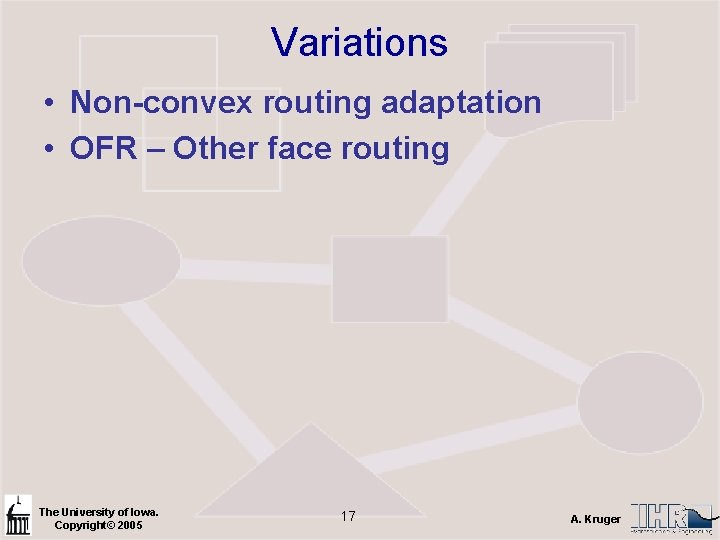 Variations • Non-convex routing adaptation • OFR – Other face routing The University of