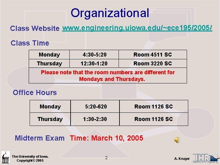 Organizational Class Website www. engineering. uiowa. edu/~ece 195/2005/ Class Time Monday 4: 30 -5: