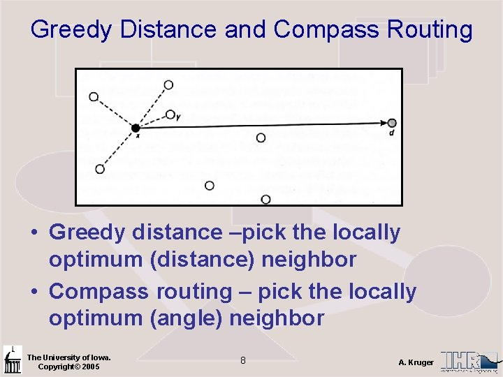 Greedy Distance and Compass Routing • Greedy distance –pick the locally optimum (distance) neighbor