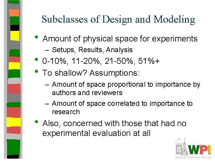 Subclasses of Design and Modeling • Amount of physical space for experiments – Setups,