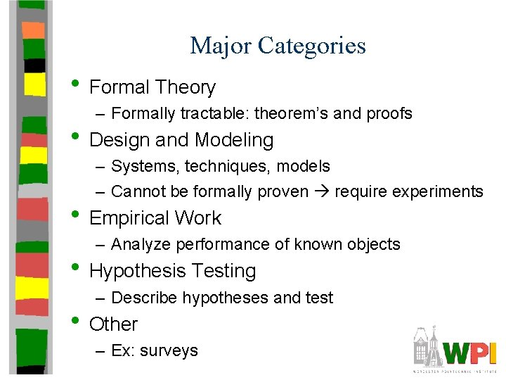 Major Categories • Formal Theory – Formally tractable: theorem's and proofs • Design and