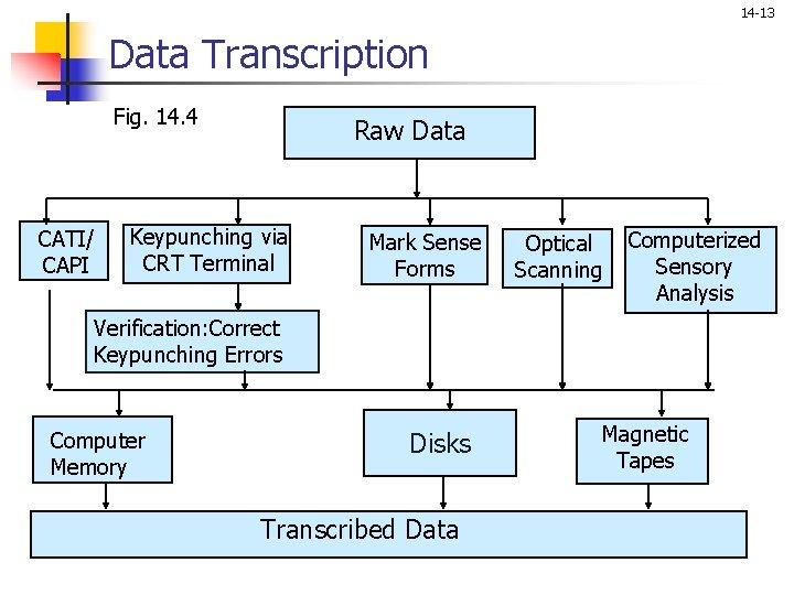 14 -13 Data Transcription Fig. 14. 4 CATI/ CAPI Raw Data Keypunching via CRT