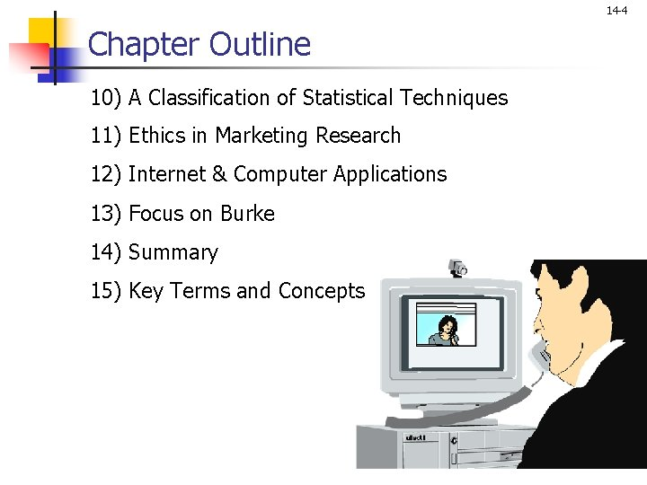 14 -4 Chapter Outline 10) A Classification of Statistical Techniques 11) Ethics in Marketing