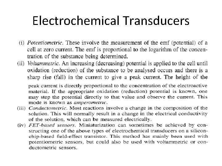 Electrochemical Transducers