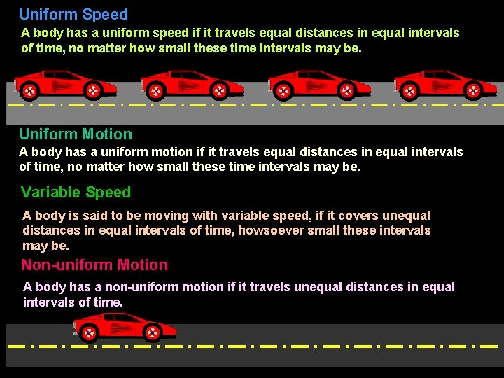 Uniform Speed A body has a uniform speed if it travels equal distances in