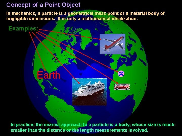 Concept of a Point Object In mechanics, a particle is a geometrical mass point