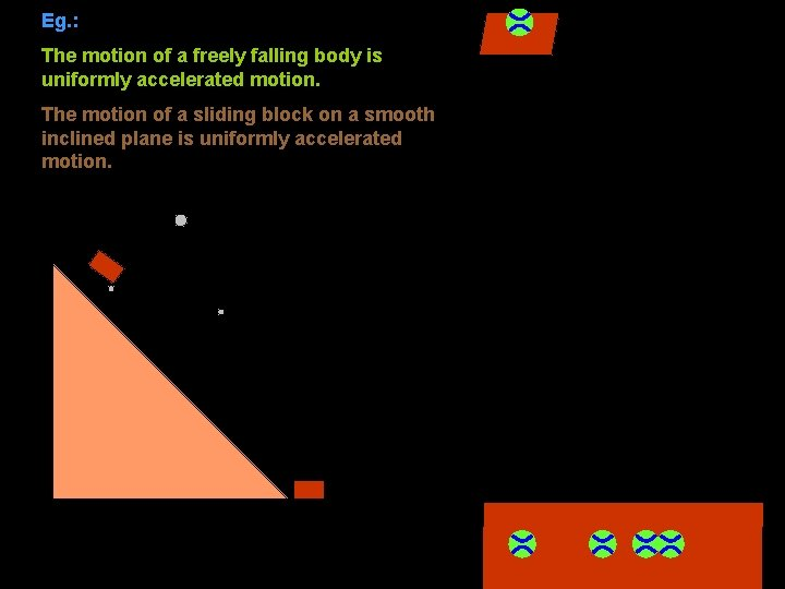 Eg. : The motion of a freely falling body is uniformly accelerated motion. The