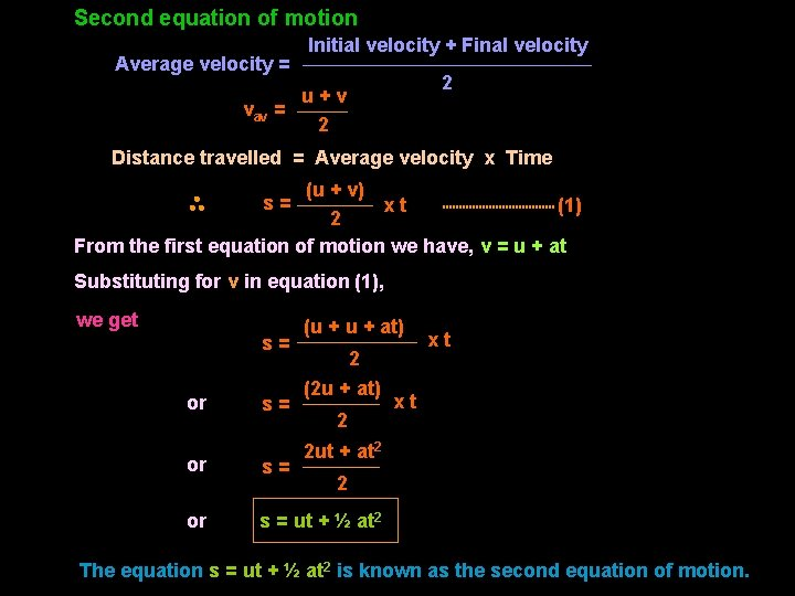 Second equation of motion Average velocity = Initial velocity + Final velocity 2 u+v
