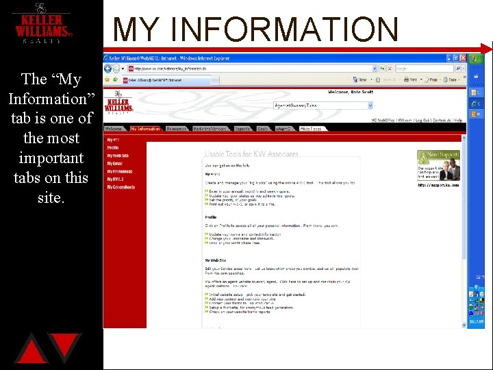 """MY INFORMATION The """"My Information"""" tab is one of the most important tabs on"""