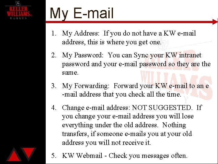 My E-mail 1. My Address: If you do not have a KW e-mail address,